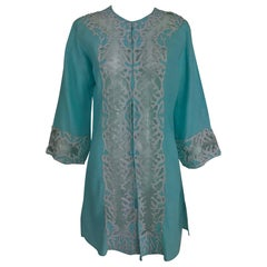 Jeannie McQueeny turquoise linen embroidered silk organza long jacket.