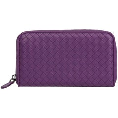 2010 Corot Purple Woven Lambskin Zip Around Wallet