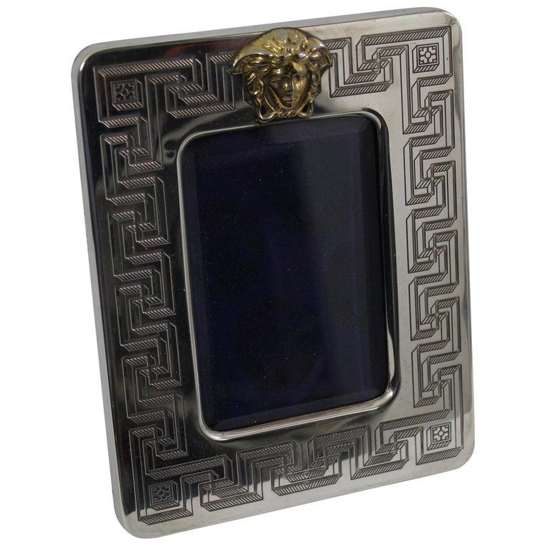 Vintage Versace Sterling Silver Medusa Photo Frame Glass Part 35x