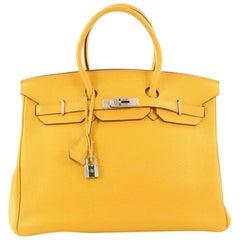 Hermes Birkin Handbag Soleil Clemence with Palladium Hardware 35