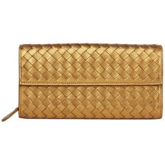 2010 Bottega Veneta Bronze Woven Metallic Grosgrain Calfskin Leather Continental