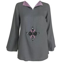 Jeannie McQueeny Cashmere and Silk Jewel Applique Tunic Top