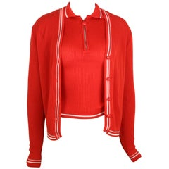 Gianni Versace Couture Red and White Knitted Sleeveless Top and Cardigan Twinset