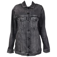 Alexander Wang Black Daze Oversized Denim Jean Jacket sz M rt. $450