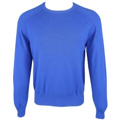 LORO PIANA Size M Royal Blue Solid Cashmere Elbow Pad Pullover
