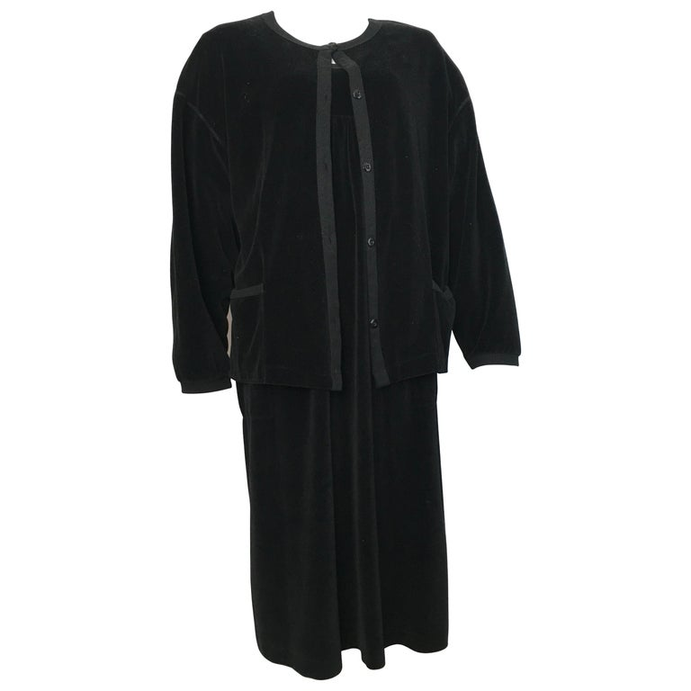 Sonia Rykiel 1980s Black Velour Dress with Pockets & Cardigan Size Large.