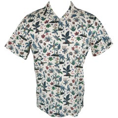 PS by PAUL SMITH M White Monkey Island Hawaiian Print Cotton Short Sleeve Shirt