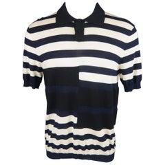 MARNI Size S Black Navy & Beige Stripe Cotton / Wool POLO
