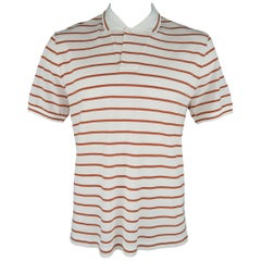 LORO PIANA Size XXL White & Orange Stripe Stripe Pique POLO