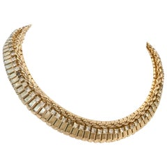 1950'S Gold Plate & Crystal Rhinestone Choker Link Necklace By, Jewels By Julio