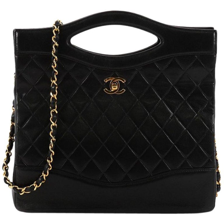 1e78818dbb836a Chanel Vintage Cut Out Chain Handle Bag Quilted Lambskin Medium For Sale