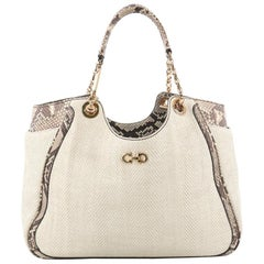 Salvatore Ferragamo Betulla Chain Tote Woven Fabric and Python Medium