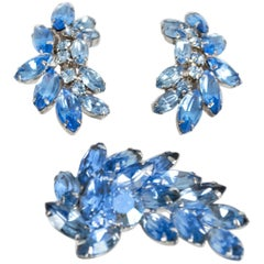 Winged Blue Marquise Crystal Brooch and Earring Demi Parure, 1950s