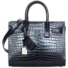 Saint Laurent Midnight Blue Croc-Embossed Nano Sac De Jour Tote Crossbody Bag