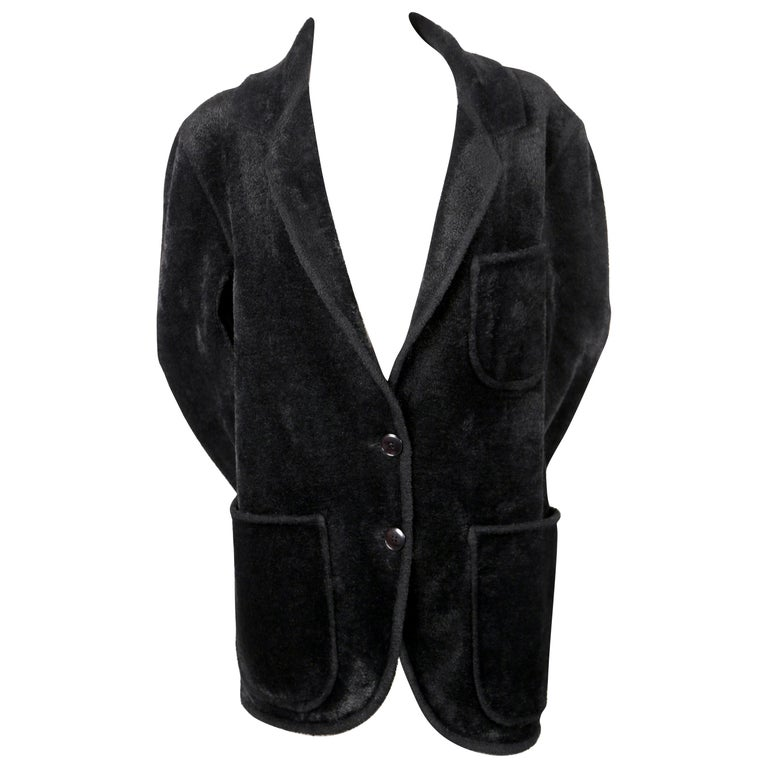 Azzedine Alaia black chenille runway sweater jacket, 1989