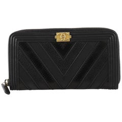 Chanel Boy L-Gusset Zip Wallet Chevron Caviar And Calfskin Long