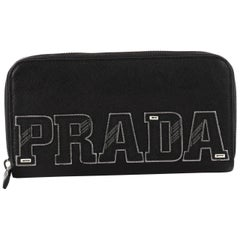 Prada Patches Zip Wallet Saffiano Leather