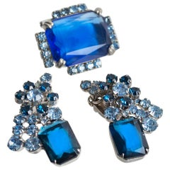 Emerald-Cut Blue Crystal Brooch and Earring Demi Parure, 1950s