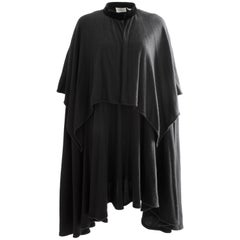 Valentino Black Angora Wool Cape with High Collar Vintage 1980s One Size