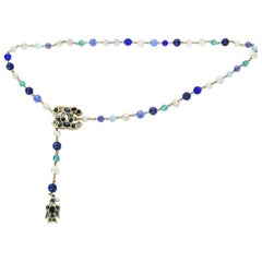 Chanel 2007 Blue Bead & Faux Pearl CC Bird Charm Belt/Necklace