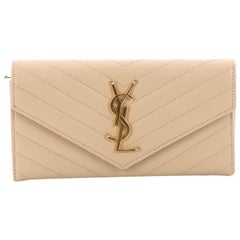 Saint Laurent Classic Monogram Flap Wallet Matelasse Chevron Leather Large