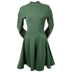 Azzedine Alaia forest green seamed mini dress with full skirt, 1990s