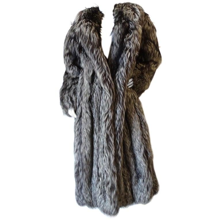 Rare 1980s James Galanos Silver Fox Fur Coat  For Sale