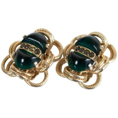 Signed Eisenberg Emerald Glass Cabochon Earrings, 1960s