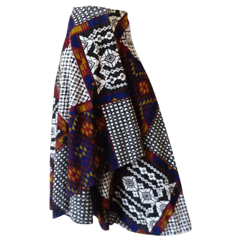 1970s Rikma Patchwork Printed Wrap Skirt  For Sale