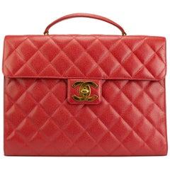 Chanel Rare Vintage 90s Red Caviar Executive Briefcase Laptop Flap Bag