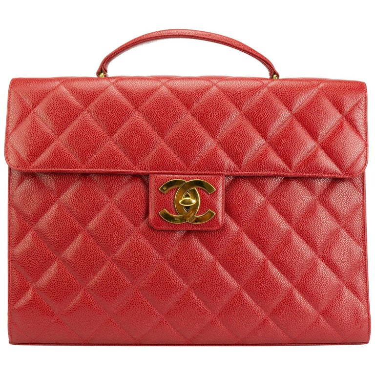 b0f5cabeef33 Chanel Rare Vintage 90s Red Caviar Executive Briefcase Laptop Flap Bag For  Sale