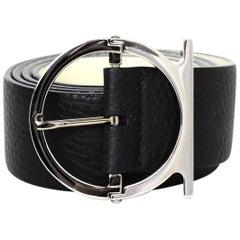 "Ferragamo Black Textured Leather Gancio Buckle Belt sz 33.5-35.5"""