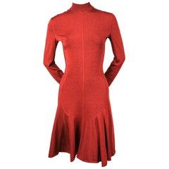 Azzedine Alaia dark red flared dress with long sleeves, 1990s