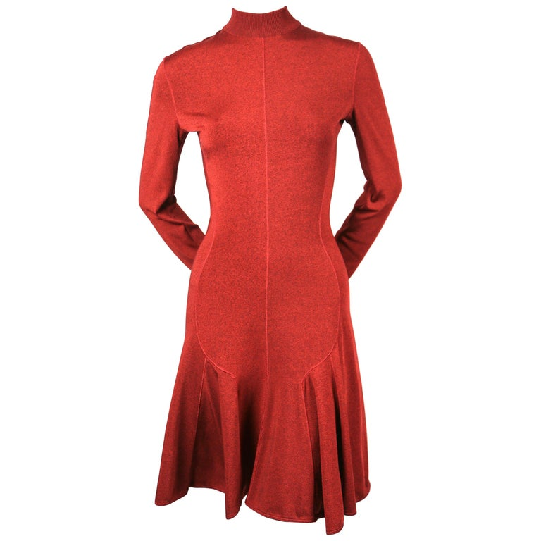 Azzedine Alaia dark red flared dress with long sleeves, 1990s For Sale