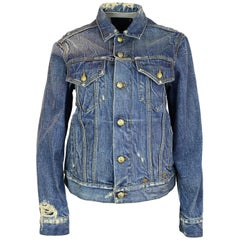 R13 Distressed Denim REBEL REBEL Embroidered Trucker Jean Jacket sz XS rt. $895