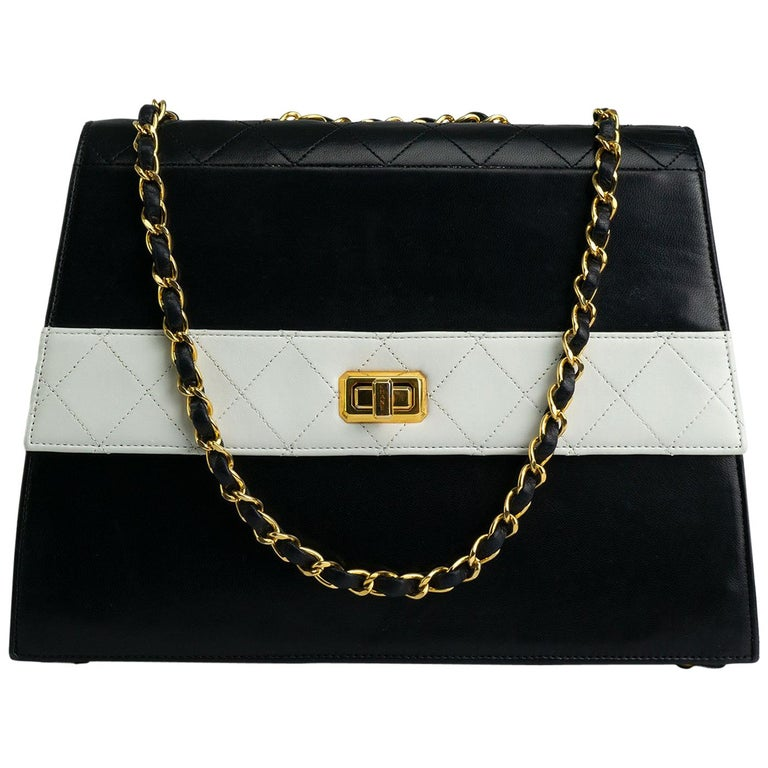 Chanel 1980s Two Tone Black and White Vintage Flap Bag For Sale