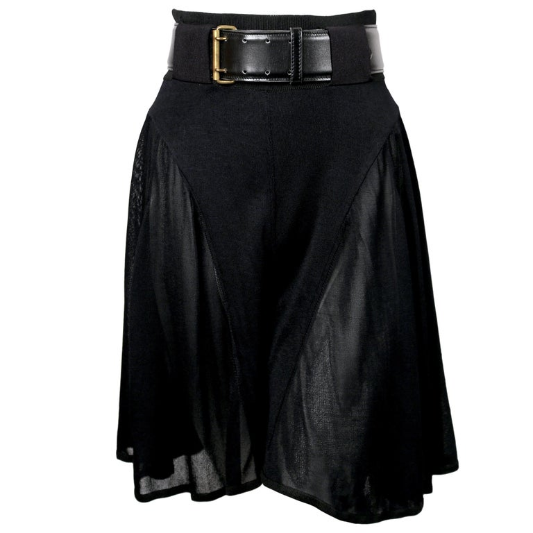 Azzedine Alaia jet black pointelle knit skort with sheer panels, 1990s   For Sale