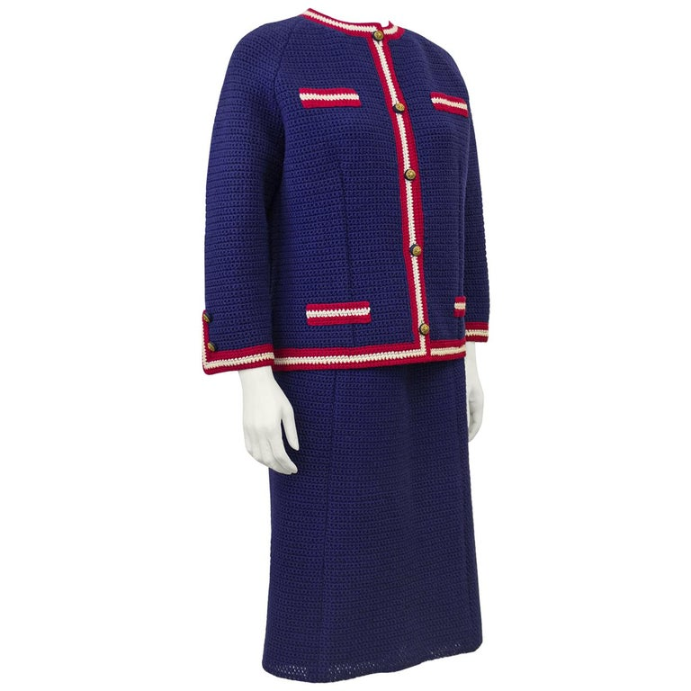 1960's Anne Rubin Dead Stock Crochet Chanel Style Suit