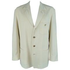 ISSEY MIYAKE 44 Beige 4 Button Notch Lapel Patch Pocket Jacket