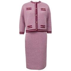 1985 Anne Rubin Pink Crochet Chanel Style Suit