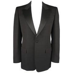 YVES SAINT LAURENT 42 Black Wool Satin Peak Lapel Le Smoking Jacket Sport Coat