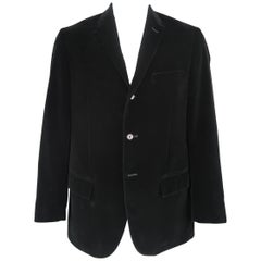 RALPH LAUREN 44 Long Black Cotton Velvet 3 Button Notch Lapel Sport Coat Jacket