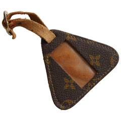 Vintage Louis Vuitton Luggage Tag ID Holder French Company Monogram Canvas Rare