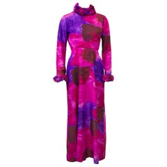 1970's Dynasty Silk Watercolor Gown