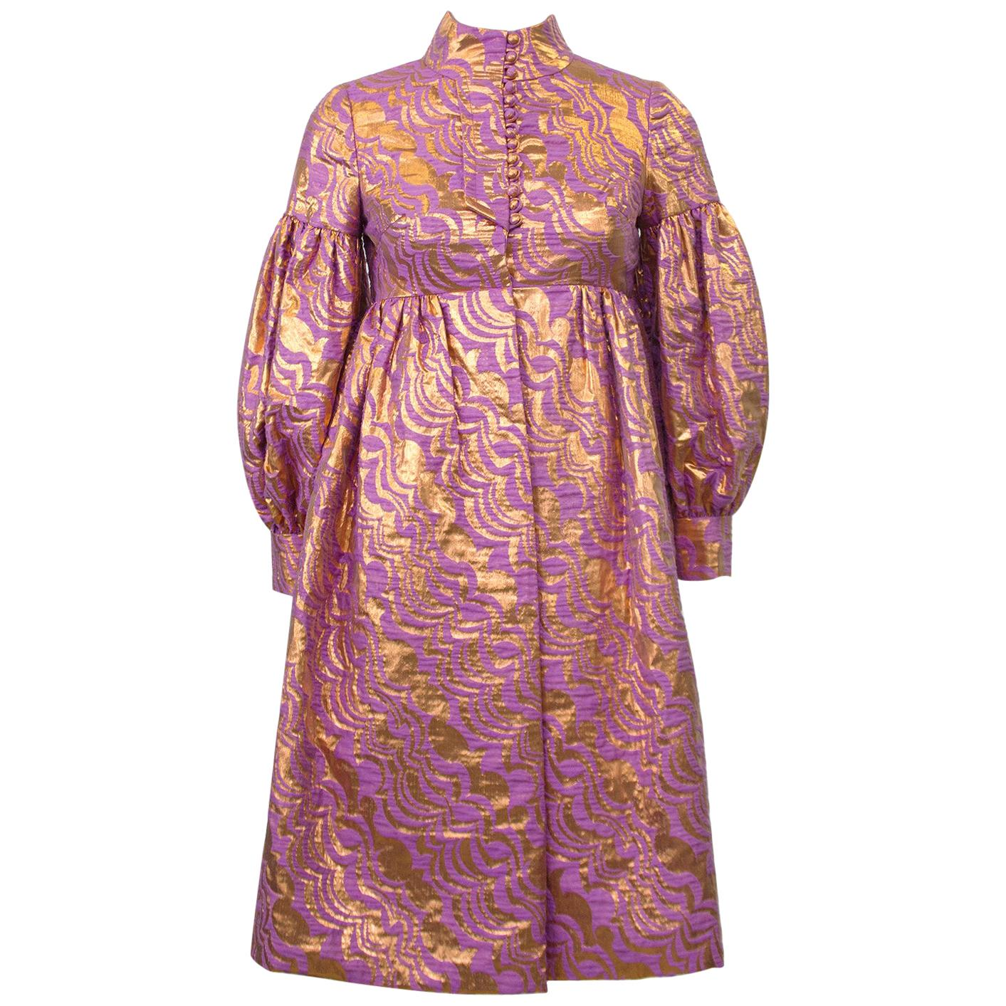 1970's Bronze and Lavender Baby Doll Cocktail Dress