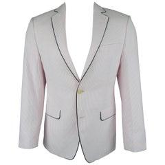 TALLIA 36 Regular Pink Stripe Seersucker Black Piping Sport Coat Jacket