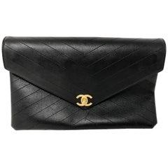 Chanel Black Envelope Chevron Clutch