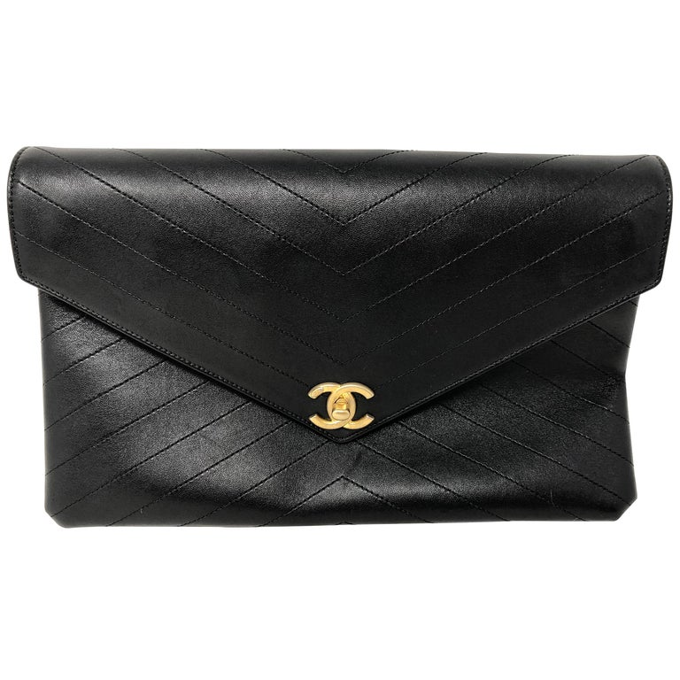72bcd87137bc Chanel Black Envelope Chevron Clutch at 1stdibs