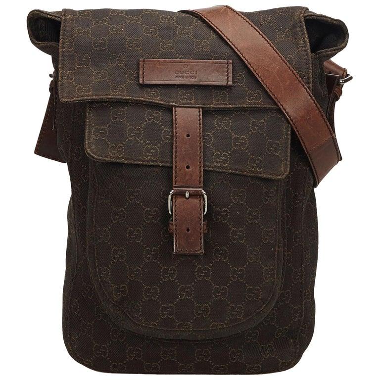 5b0d82a8eb7c36 Gucci Brown Guccissima Cotton Crossbody Bag at 1stdibs
