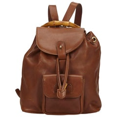 Gucci Brown Bamboo Leather Drawstring Backpack